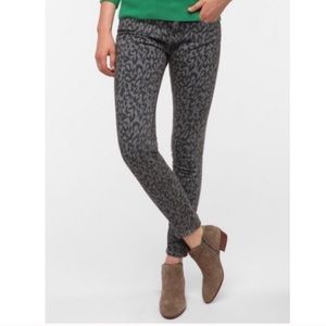 Urban Outfitters high rise cigarette leopard jeans